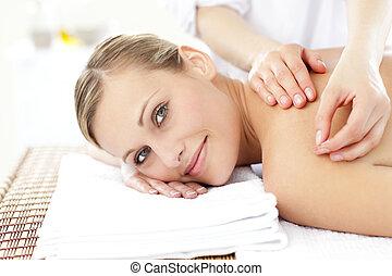 nő, felfogó, kaukázusi, bánásmód, mosolygós, akupunktúra