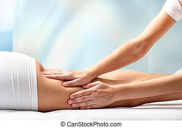 nő, felfogó, massage., láb