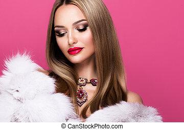 nő, feltevő, haj, fiatal, háttér., hosszú, fényes, rózsaszínű, gyönyörű