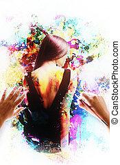 nő, festett, picture., ecset, artwork, érzéki