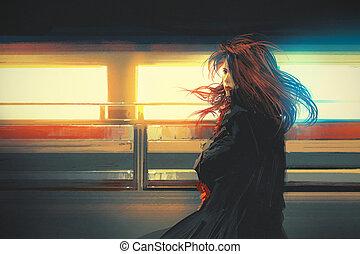 nő, festmény, gyönyörű
