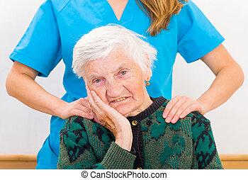 nő, fiatal, öregedő, orvos