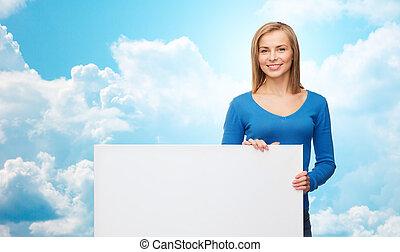 nő, fiatal, bizottság, tiszta, mosolygós, fehér