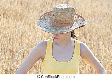 nő, fiatal, nyár, mező, gyönyörű