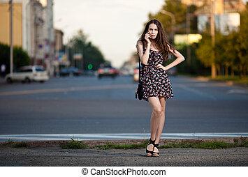 nő, fiatal, város, gyönyörű