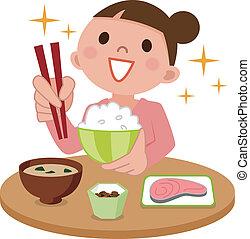 nő, finom, eszik étkezés