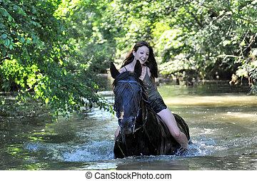 nő, folyó, ló