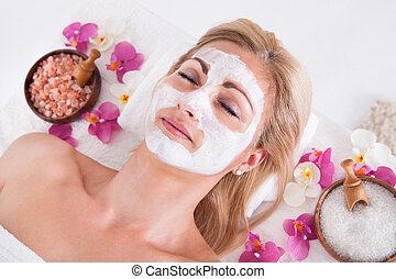 nő, fordít, maszk, arc, arcápolás, kozmetikus