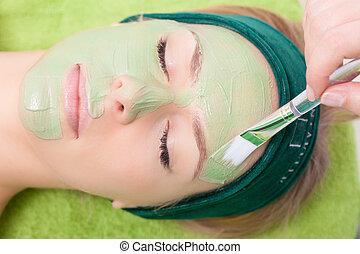 nő, fordít, szépség, face., maszk, arcápolás, kozmetikus, salon.