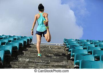nő, futó, feláll, fiatal, meleg, állóképesség, lépcsősor