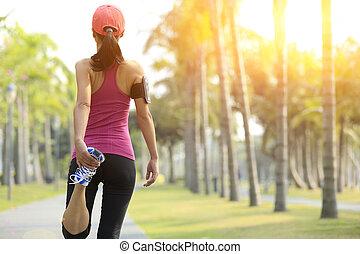 nő, futó, feláll, meleg, külső