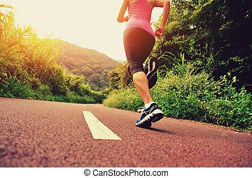 nő, futó, fiatal, állóképesség