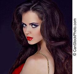 nő, göndör, ipari formatervezés, hosszú szőr, finom, ajkak, portré, piros