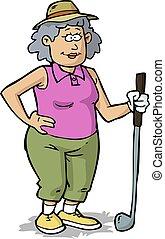nő, golf, nyugdíjas, bánik