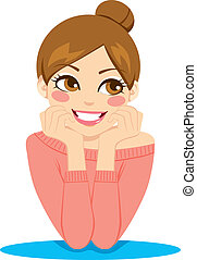nő, gondolkodó, boldog
