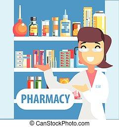 nő, gyógyszerész, gyógyszertár, polc, osztályozás, kábítószer, bemutat
