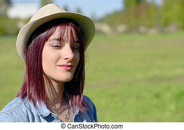 nő, gyönyörű, kalap, fiatal