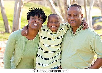 nő, gyermek, amerikai, african bábu, boldog