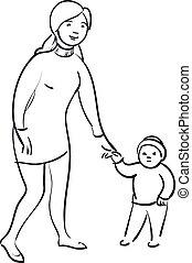 nő, gyermek