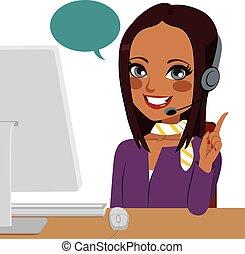 nő, hívás, indiai, középcsatár