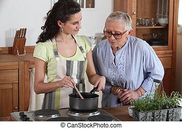 nő, hölgy, főzés, öregedő, fiatal