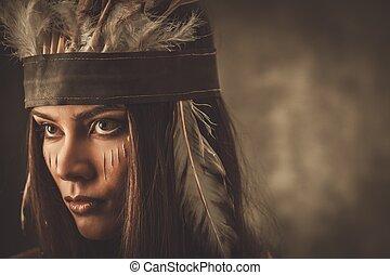 nő, hagyományos, indiai, arc, frizura, festék