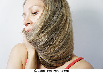 nő, haj, fiatal, szőke, egészséges, hosszú, gyönyörű