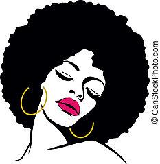 nő, haj, hippi, művészet, afrikai származású, váratlanul