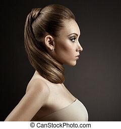 nő, haj, portrait., barna, hosszú, gyönyörű