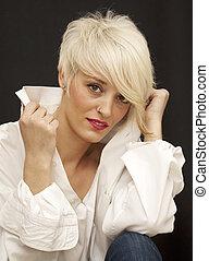 nő, haj, rövid, gyönyörű, fehér