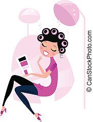 nő, haj, szépség salon, csinos, elszigetelt, rózsaszínű, fehér