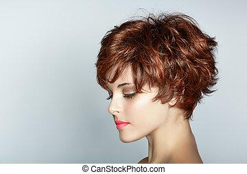 nő, hajvágás, rövid