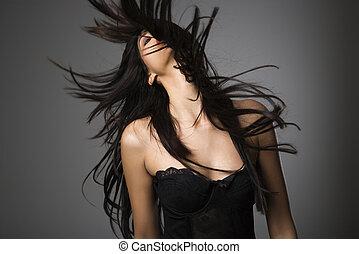 nő, hosszú, hair.