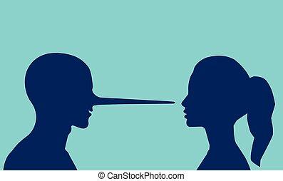 nő, hosszú, látszó, vektor, nose., fekvő, ember