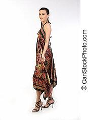 nő, hosszú, ruha
