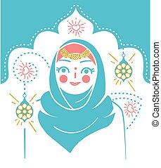 nő, ikon, muzulmán, ünnep
