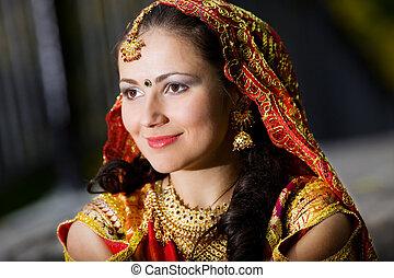 nő, indiai, ruha, fiatal
