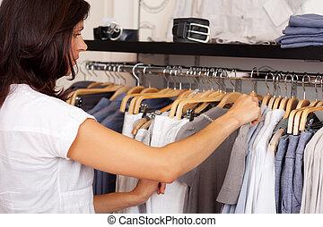 nő, ing, eldöntés, ruházat keret, bolt