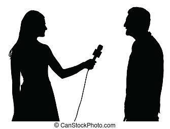 nő, interjú, interjúvoló, sajtó, magaviselet