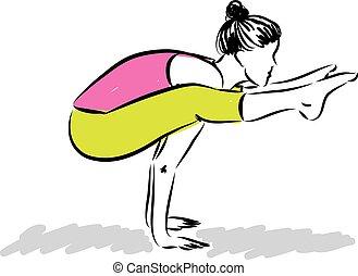 nő, jóga, ábra, állóképesség