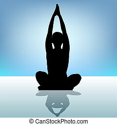 nő, jóga, eps, water., 8, árnykép