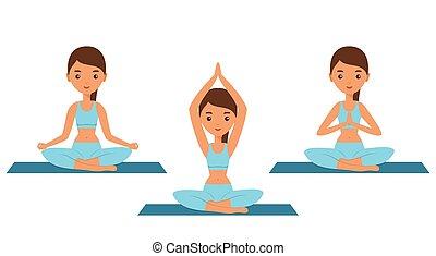 nő, jóga, illustration., pose., ülés, lótusz, vektor