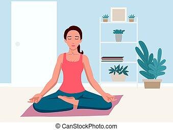 nő, jóga, otthon