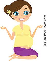 nő, jóga, terhes, nem, elszigetelt, fehér