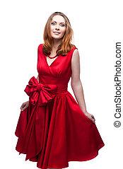 nő, jókedvű, ruha, piros