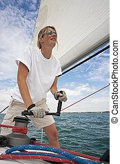 nő, jacht, bizottság