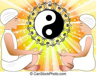 nő, jelkép, yin, elmélkedik, yang, ember