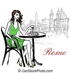 nő, kávéház, ülés