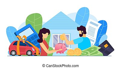nő, költségvetés, anyagi, covid, vektor, ember, probléma, párosít, otthon, hitel, adót kiszab, finance., emberek, elszigetelt, pénz, tervezés, part, gazdaság, ügy, krízis, bill., család, probléma, ábra, nyugtalan