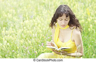 nő, könyv, fiatal, felolvasás